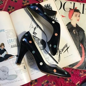Marc Jacobs Shoes - Marc Jacobs Polka Dot Leather Closed Toe Heels